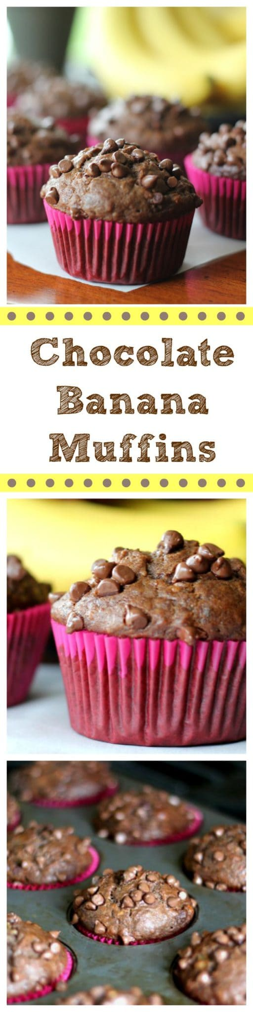 Banana bread with a 'twist' being the muffins are chocolate with bits and chunks of banana and semi-sweet chocolate chips in every bite!