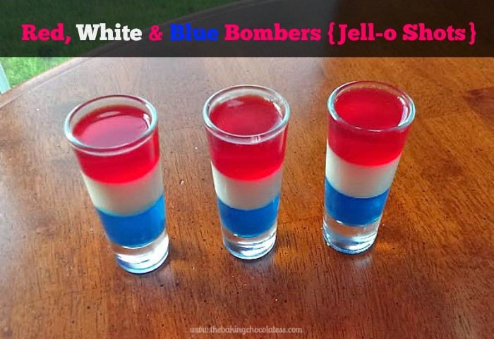 Red, White & Blue Bombers Jell-O Shots