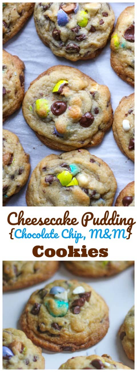 Cheesecake Pudding {Chocolate Chip, M&M} Cookies  - Soft, chewy & thick pudding cookies stocked full of M&M's and chocolate chips! Addicting!