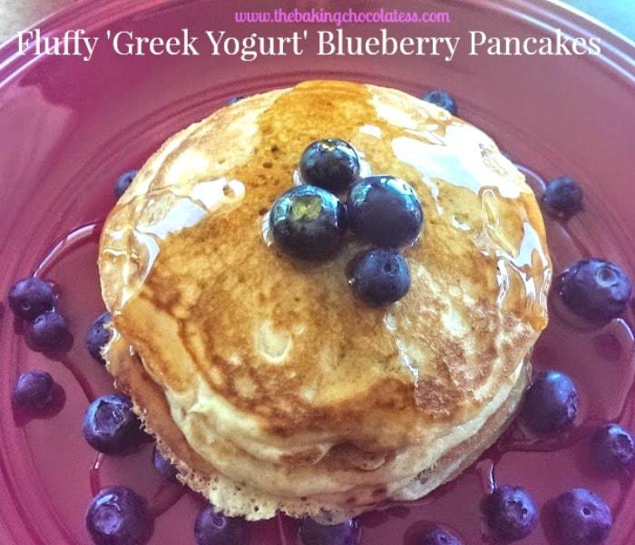 Fluffy \'Greek Yogurt\' Buttermilk Blueberry Pancakes!