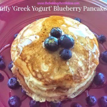 Fluffy 'Greek Yogurt' Buttermilk Blueberry Pancakes!