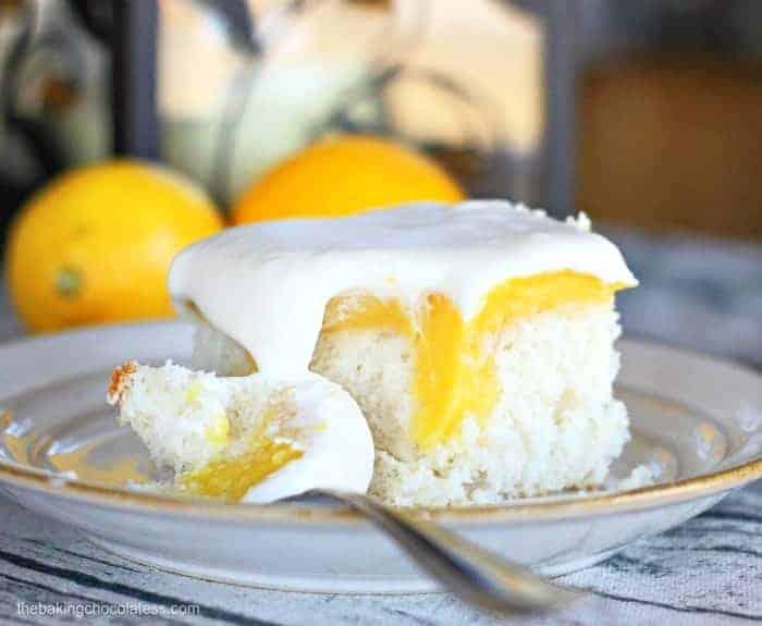 bite of Lemon Burst Poke Cake
