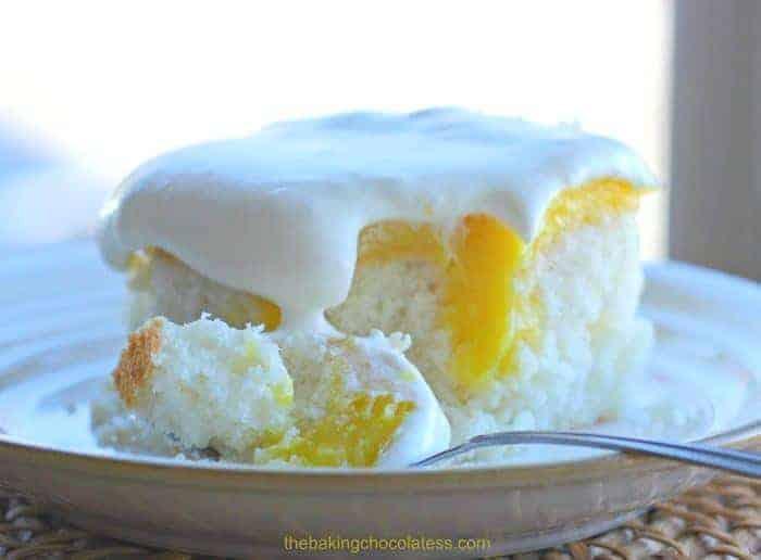 Lemon Burst Poke Cake slice