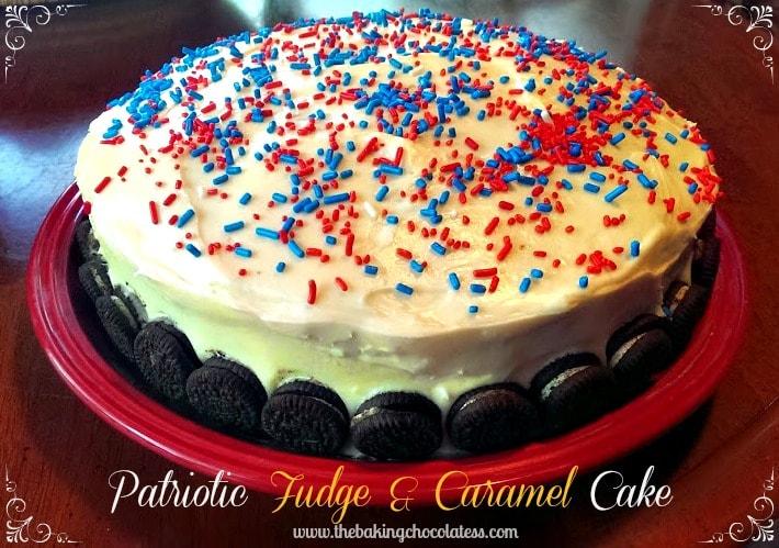 Patriotic Fudge & Caramel Party Cake