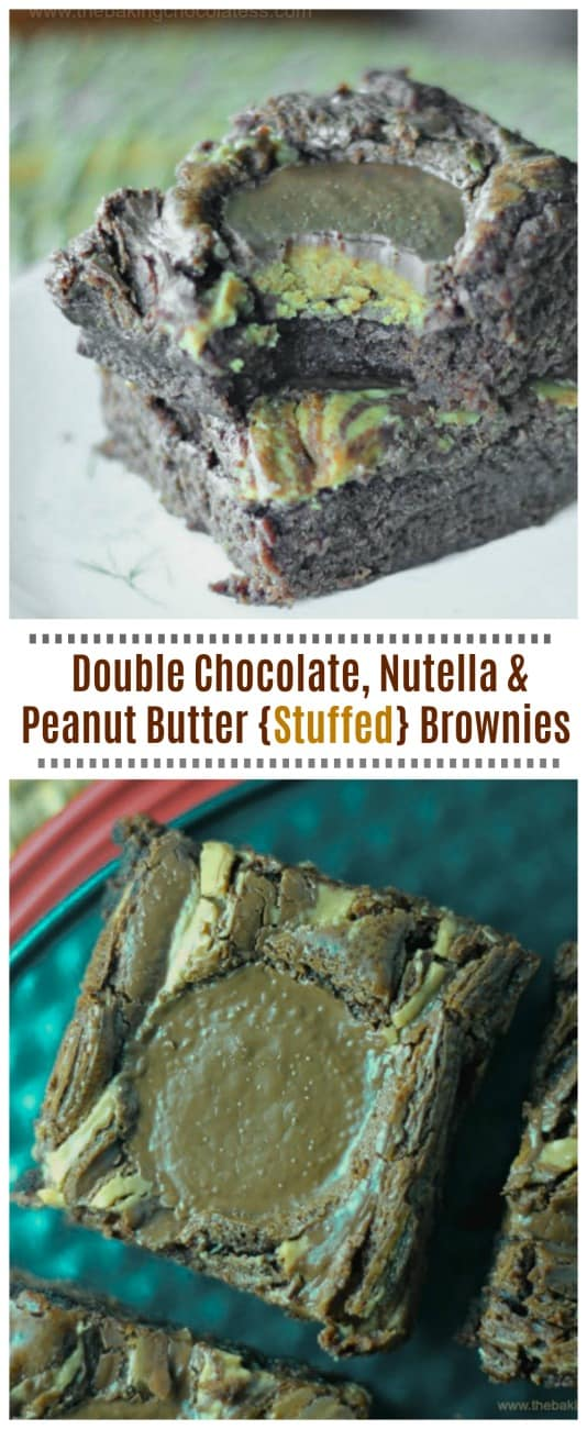 Double Chocolate, Nutella & Peanut Butter {Stuffed} Brownies