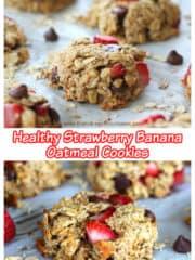 Healthy Strawberry Banana Oatmeal Cookies