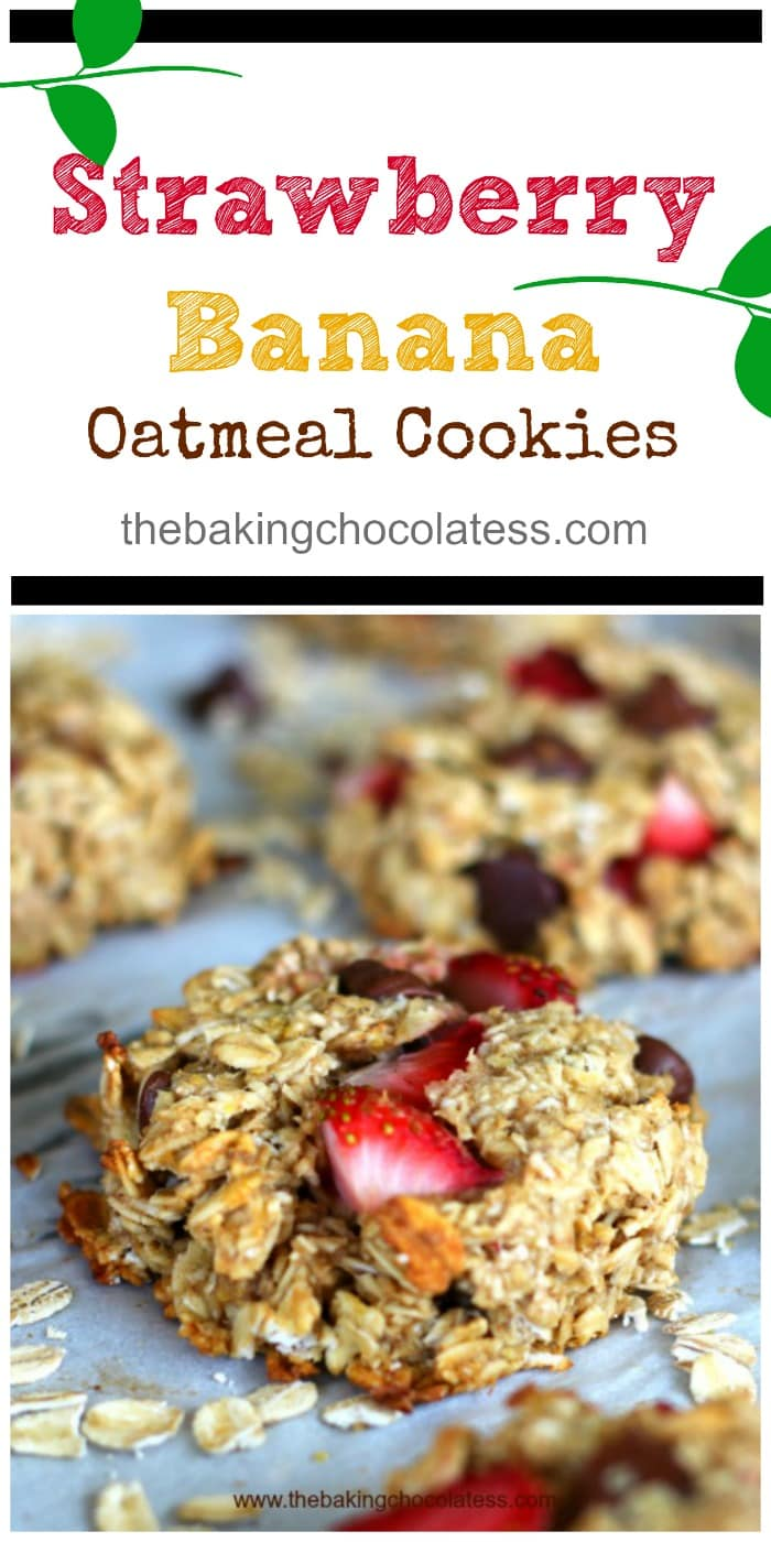 Healthy Strawberry Banana Oatmeal Cookies