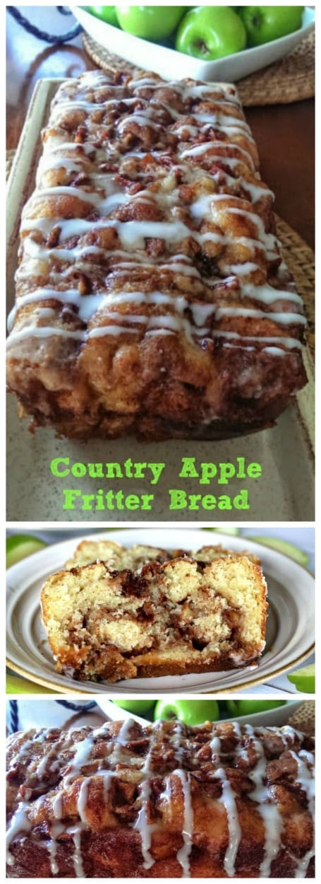 Awesome Country Apple Fritter Bread! Have you ever had an apple fritter transformed into fluffy, buttery, white cake loaf with chunks of juicy apples and layers of brown sugar and cinnamon swirled inside and on top?  