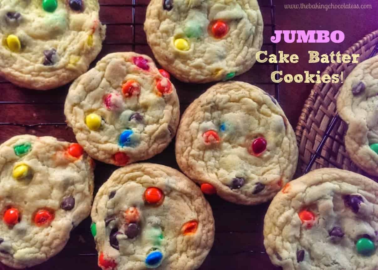 JUMBO Cake Batter Cookies {4 Main Ingredients} - These JUMBO Cake batter cookies are soft, chewy and delicious! 4 ingredients plus whatever goodies you want to add in! Perfectly sweet and simple!