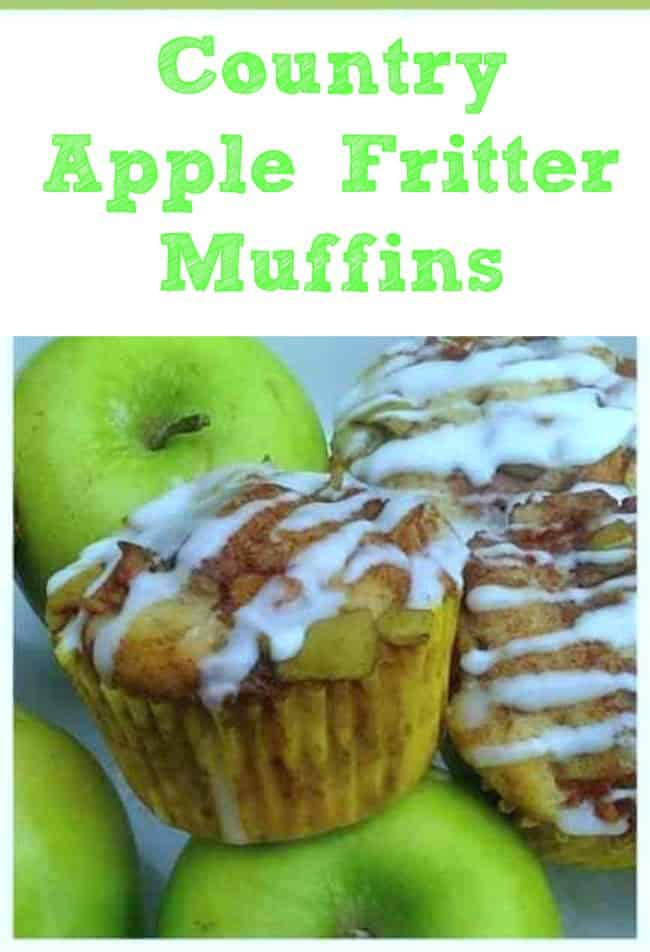Country Apple Fritter Muffins - Fluffy, buttery, white cake muffins loaded with chunks of apples and layers of brown sugar and cinnamon swirled inside and on top. Simply Irresistible!  #muffins #applefritter #breakfast #apple #cinnamon