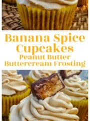 Old-Fashioned Banana Spice Cupcakes {Peanut Butter Buttercream Frosting}