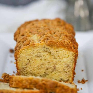 Banana Cream Cheese Bread with Peanut Butter Streusel
