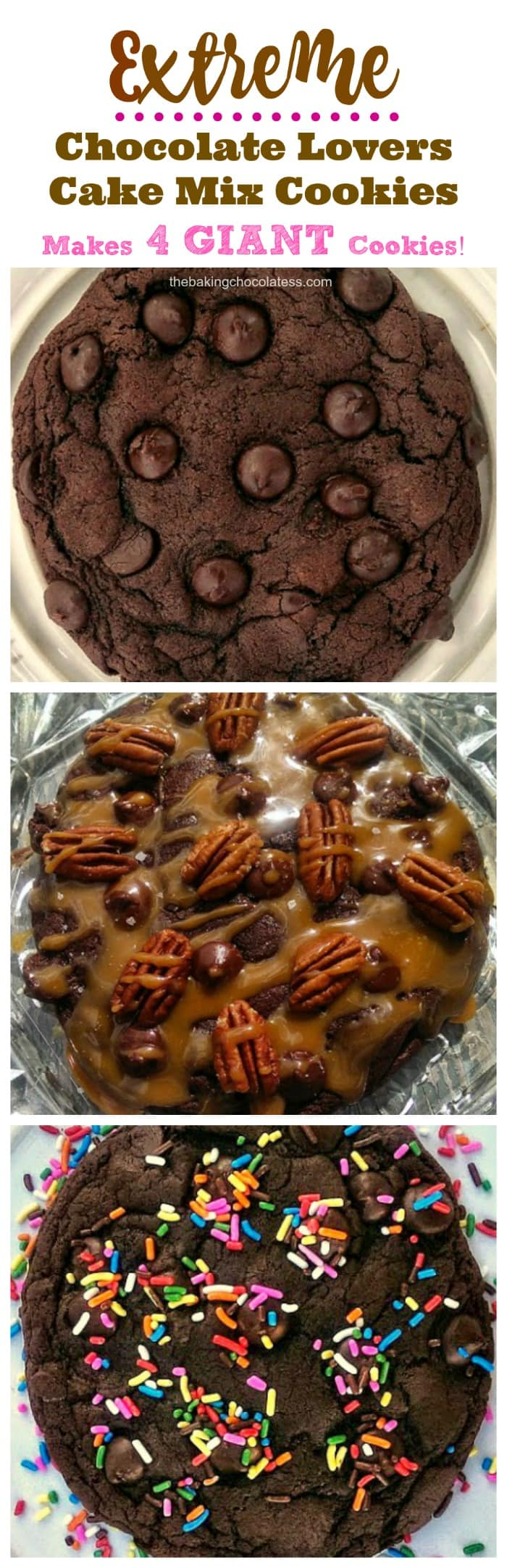 Extreme Chocolate Lovers Cake Mix Cookies {Recipe Makes 4 GIANT Cookies!}