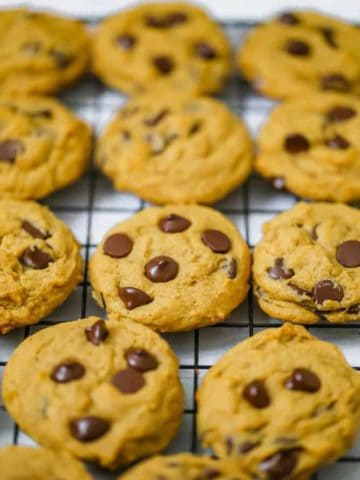 Soft Batch Pumpkin Chocolate Chip Cookies {Eggless too!} VEGAN