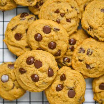 Soft Batch Pumpkin Chocolate Chip Cookies {Eggless too!} VEGAN
