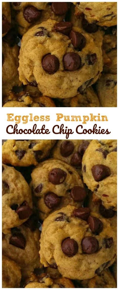 Soft Batch Pumpkin Chocolate Chip Cookies {Eggless too!}  #eggless #chocolate chip #pumpkin #soft batch #baking #cookies #fall
