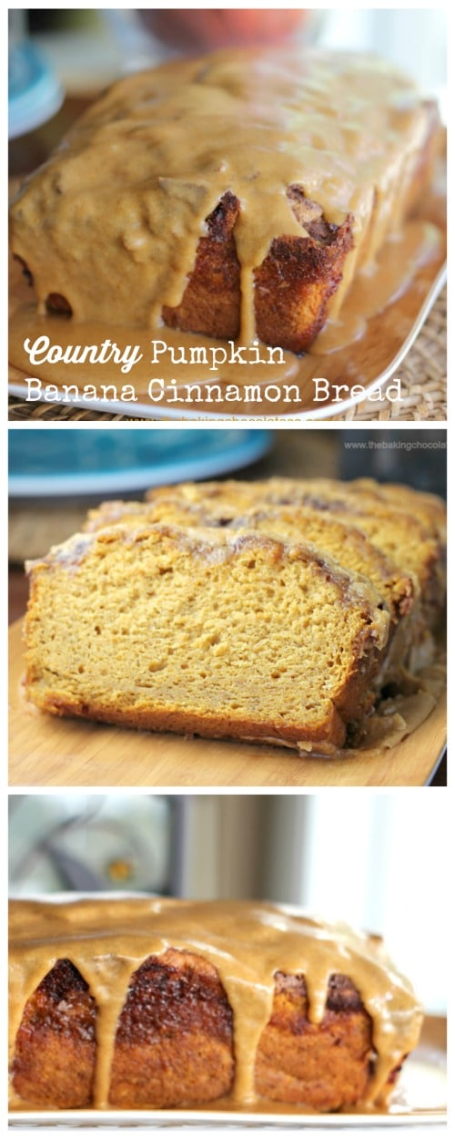 Country Pumpkin & Banana Cinnamon Bread {Pumpkin Glaze} - You can prepare this bread 3 different ways!  Check it out!