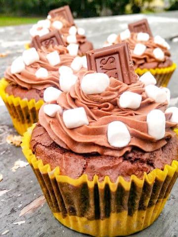 Chocolate S'more Brownie Cupcakes