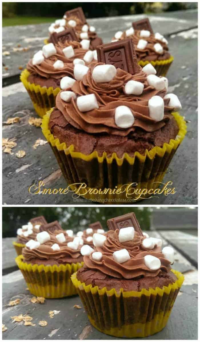 Chocolate S\'more Brownie Cupcakes