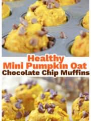 Healthy Mini Pumpkin Oat Chocolate Chip Muffins