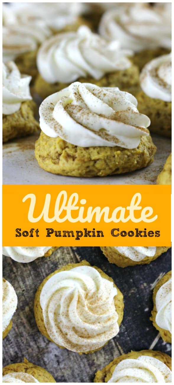 Ultimate Soft Pumpkin Cookies {Melt-in-your-Mouth} - Pillowy, soft, cakey and moist delicious mild pumpkin cookies that literally melt-in-your-mouth when devouring! Cream Cheese Frosting is a must!! They are absolutely out of this freakin' world!