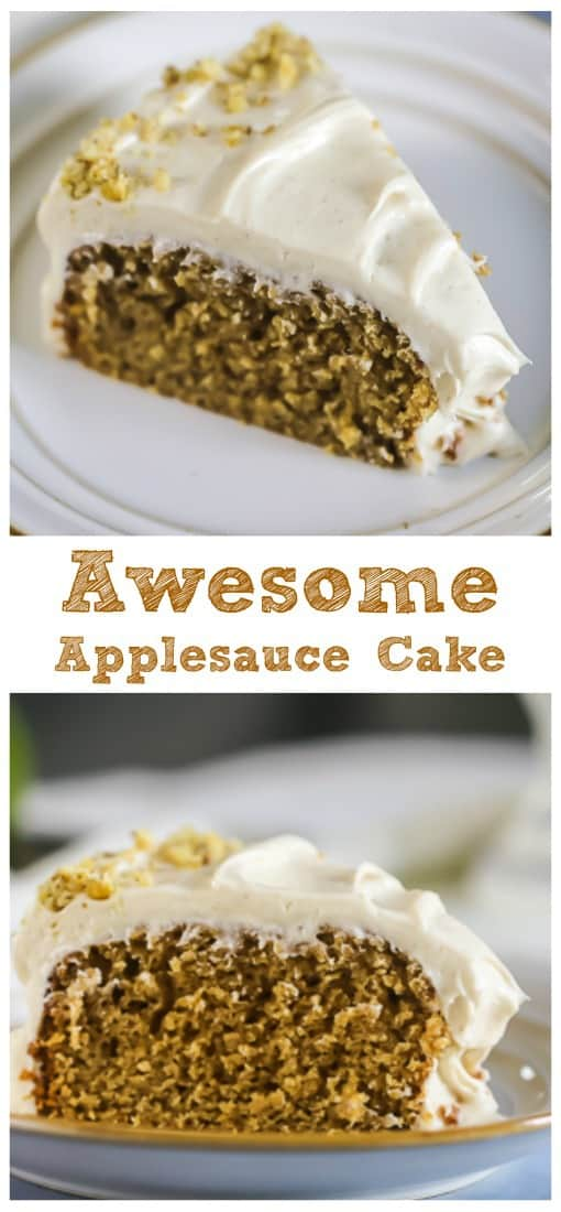 \'Awesome\' Applesauce Cake {Cinnamon Cream Cheese Frosting included!}  #apple #applesauce #cake #cinnamon #cream cheese #frosting #fall