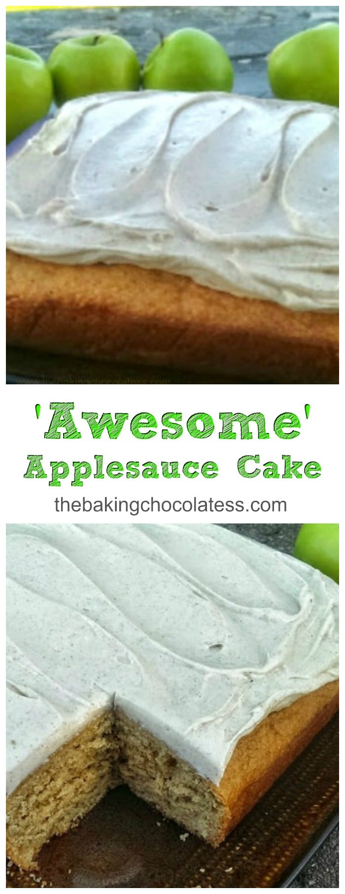 'Awesome' Applesauce Cake {Cinnamon Cream Cheese Frosting included!}