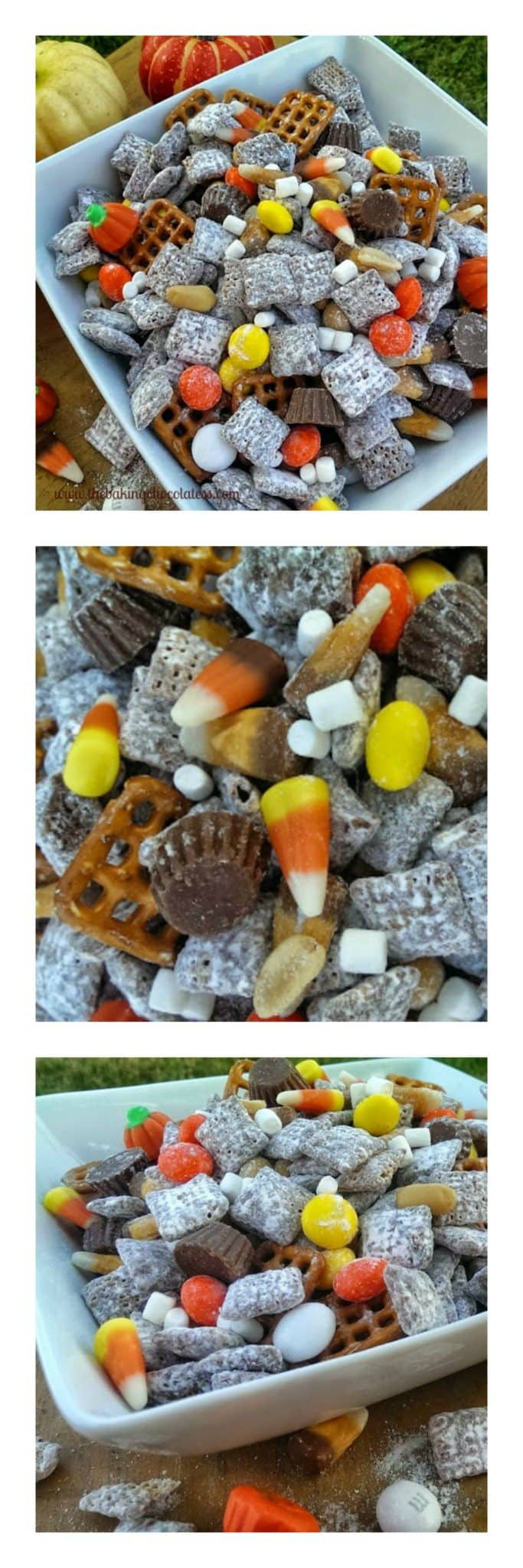 Halloween 'Party' Puppy Chow - Celebrate Halloween in 'party' mode with this yummy, addictive munchie, crunchy corn chex mix drenched with chocolate and peanut butter flavors, partied up with a Halloween candy mix, pretzels and peanuts! Party on Frankenstein! Party on Dracula! Get your munchie fix here, little monsters!  #munchies #party #candy #chex #halloween  #sweet  #party mix #puppy chow