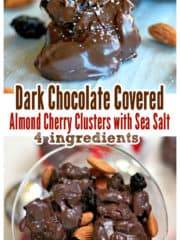 Dark Chocolate Covered Almond Cherry Clusters with Sea Salt {4 ingredients!}