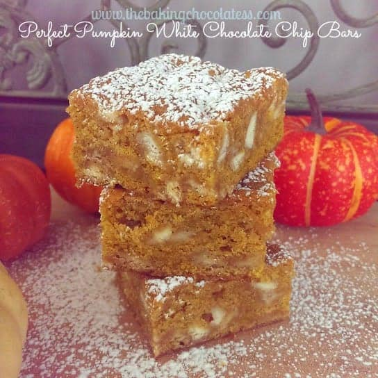 Perfect Pumpkin White Chocolate Chip Bars!