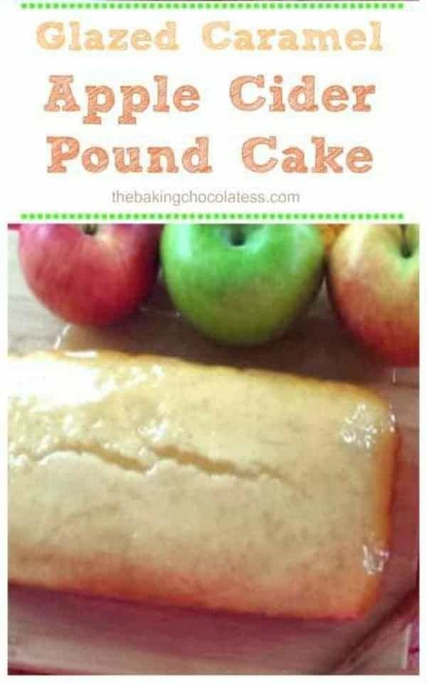 Glazed Caramel Apple Cider Pound Cake - The apple cider pound cake is super moist, has a tender,tight crumb and is simply glorious, just as a pound cake should be!   Serve it with this delectable, sweet Caramel Apple Cider Glaze and some whipped cream! #cake #bread #apple #apple cider #caramel #glaze #breakfast #brunch #fall baking