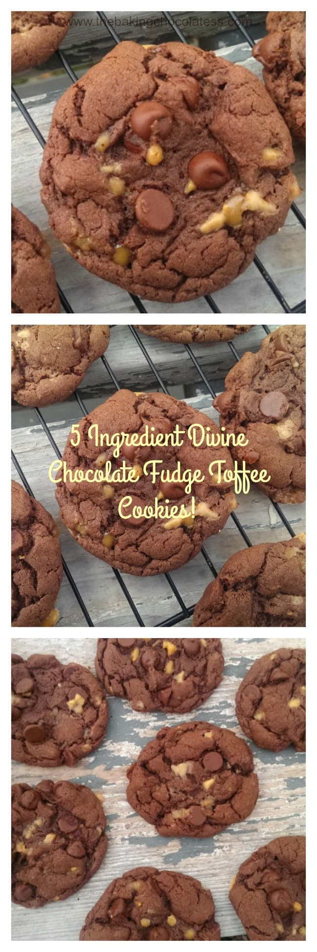 5 Ingredient Divine Chocolate Fudge Toffee Cookies!