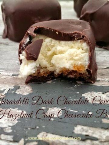Ghirardelli Dark Chocolate Covered Hazelnut Crisp Cheesecake Bites