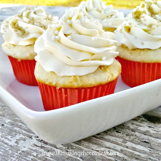 Heavenly White Chocolate Frosted Vanilla Butter Cupcakes