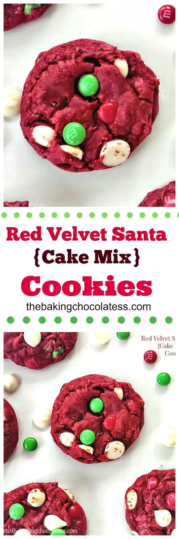 Red Velvet Santa {Cake Mix} Cookies