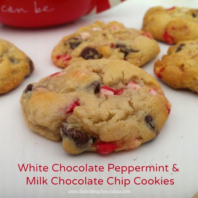 White Chocolate Peppermint & Milk Chocolate Chip Cookies