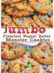 Flourless Jumbo Peanut Butter Monster Cookies