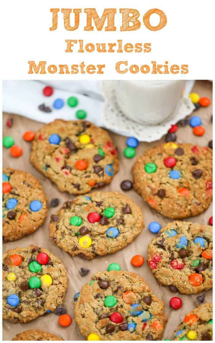 Flourless Jumbo Peanut Butter Monster Cookies - Flourless, delicious, chewy peanut butter oatmeal monster cookie made a little healthier! You would never know there wasn\'t flour in these monsters!