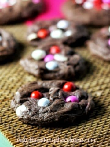 Sixlets & Chocolate Chip Fudge Cake Mix Cookies