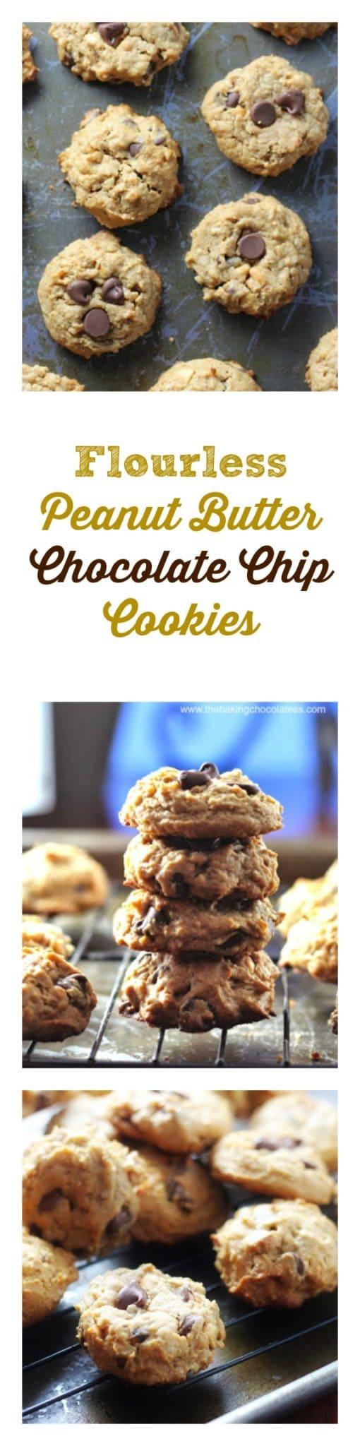 Flourless Peanut Butter Chocolate Chip Cookies {GF, No Butter, Naturally Sweetened}