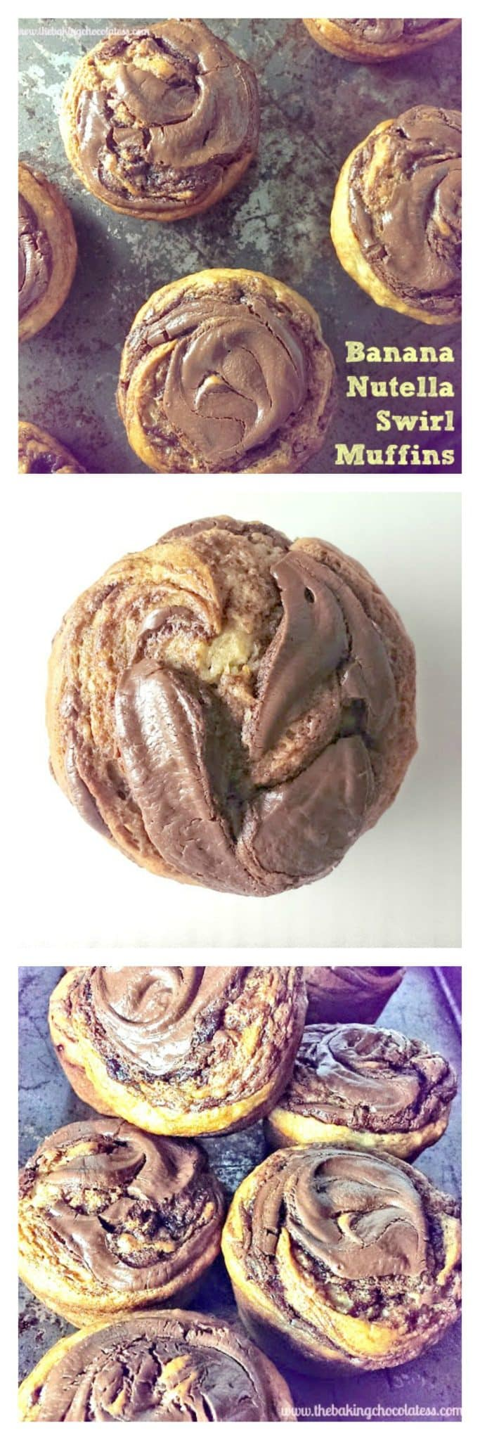 \'Awesome\' Banana Nutella Swirl Muffins!  {Choose GF or Regular}