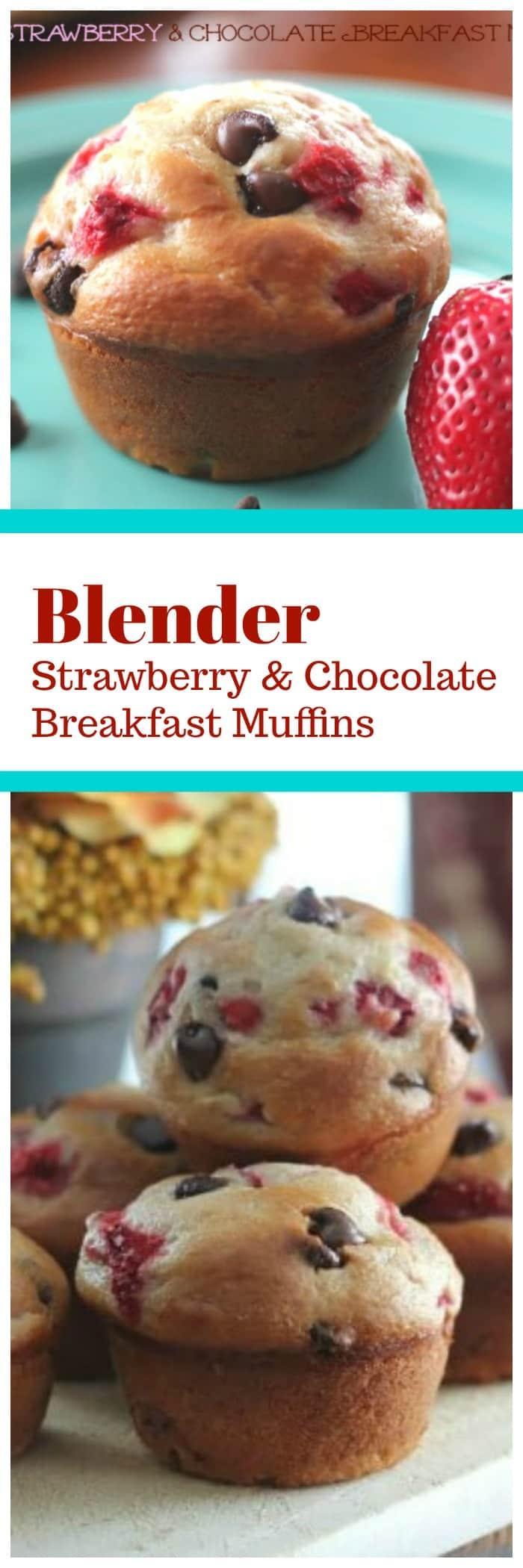 Blender Strawberry & Chocolate Breakfast Muffins {Healthy Too!}