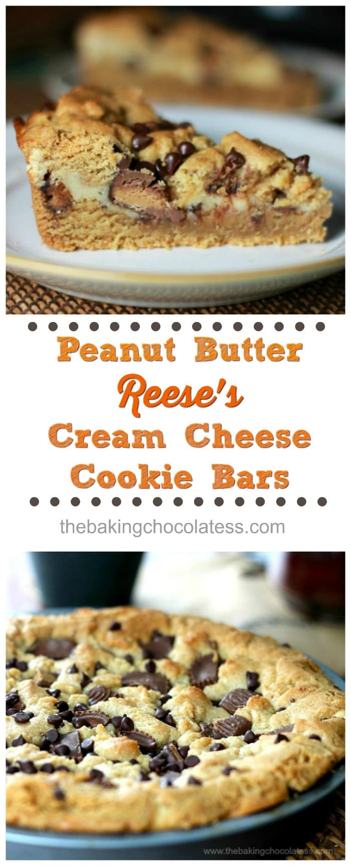 Peanut Butter Reese's Cream Cheese Cookie Bars! Would YOU turn peanut butter & Reese's Cup cookies entertwined with cream cheese down?