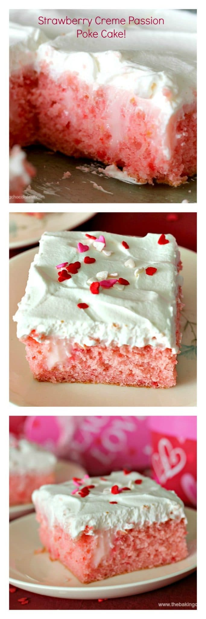 Perfect for any time of the year, this Strawberry Creme 'Passion' Poke Cake is dazzling, passionate and bursting out the doors with dreamy flavors!