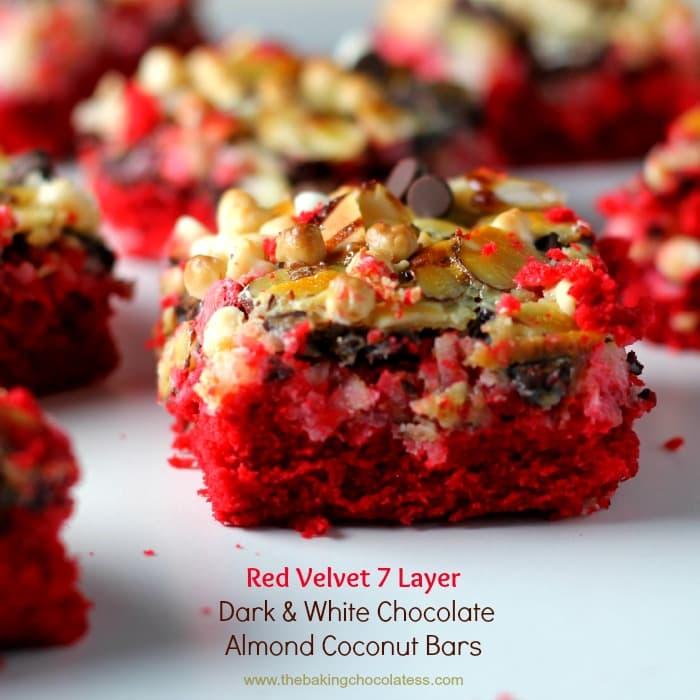 Red Velvet 7 Layer White & Dark Chocolate Almond Coconut Bars