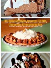 No-Bake Snickers Caramel Truffle Chocolate Cheesecake Pie