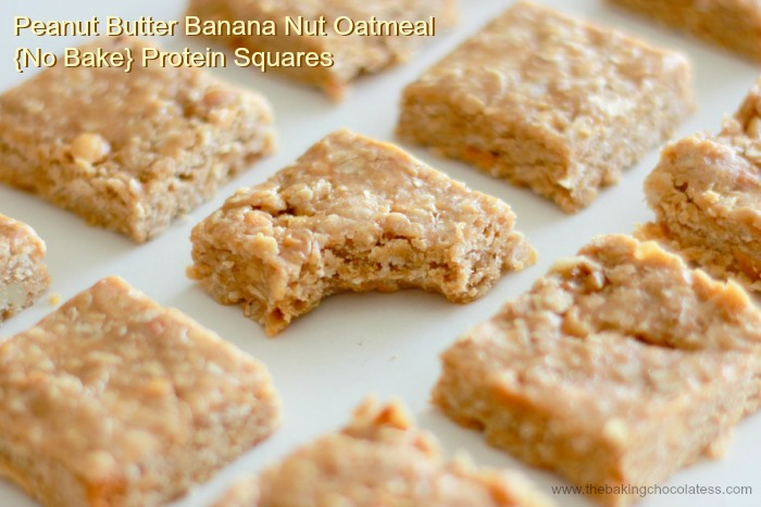 Peanut Butter Banana Nut Oatmeal {No Bake} Protein Squares
