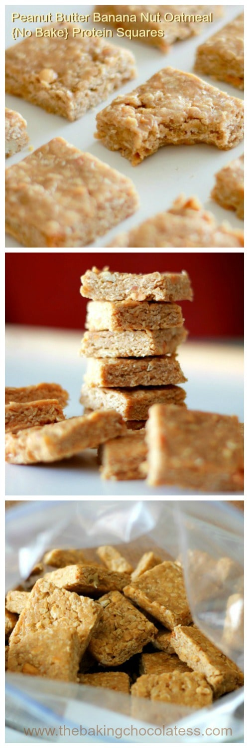 3 Ingredient Peanut Butter Banana Nut Oatmeal {No Bake} Protein Squares