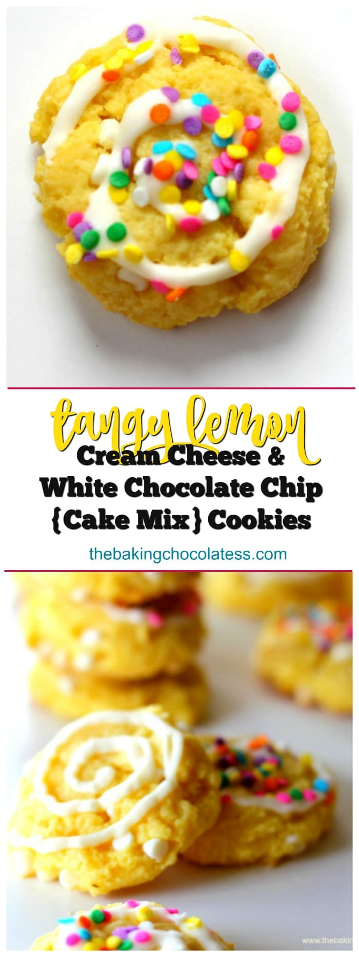 Tangy Lemon Cream Cheese & White Chocolate Chip {Cake Mix} Cookies
