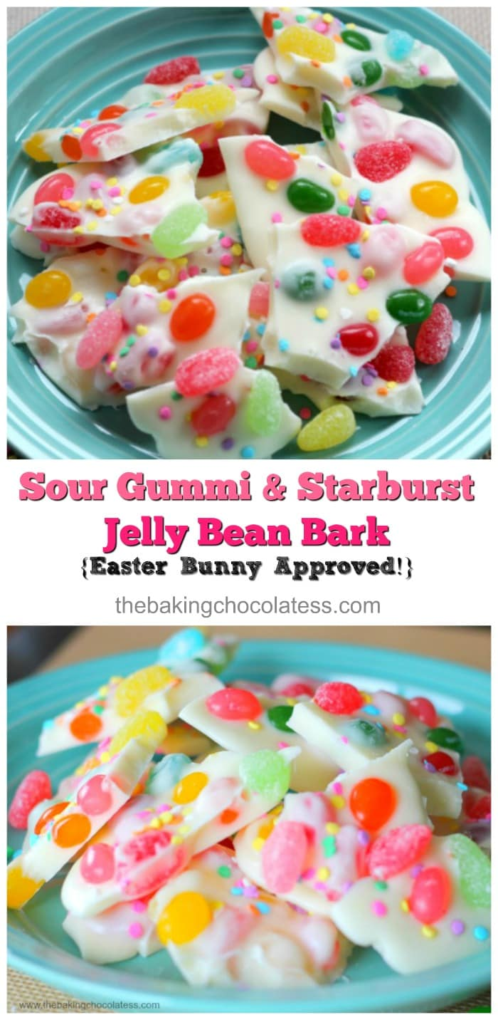 This particular white chocolate bark has of two kinds of jelly beans incorporated in it.  Brach\'s Gummi Sour Jelly Beans and Starburst Tropical Jelly Beans, and it\'s really delicious!  Pleasantly surprised and addictive!